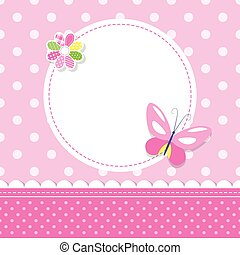 pink butterfly baby girl greeting c - illustration of a...