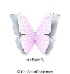 Pink butterfly cut out of paper.