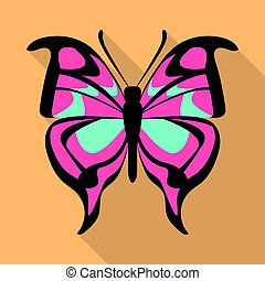 Pink butterfly icon, flat style