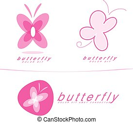 Pink butterfly icon logo