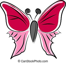 Pink butterfly, illustration, vector on white background.