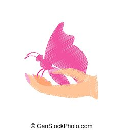 pink butterfly in the hand icon