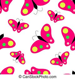 Pink butterfly on white background. Seamless pattern.