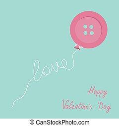 Pink button balloon. Love thread card. Flat design. Happy Valentines day card