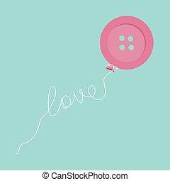 Pink button balloon. Love thread card. Flat design.