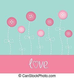 Pink button flowers. Dash line stem with bow Love card.  Flat design