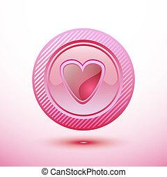 Pink button heart