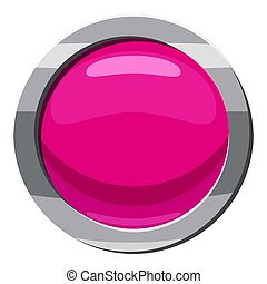 Pink button icon, cartoon style