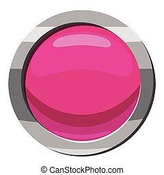Pink button icon, cartoon style
