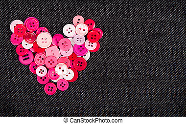Pink buttons in shape of heart