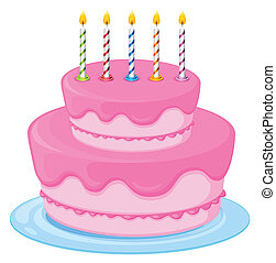 pink cake - illustration of a pink birthday cake on a white...