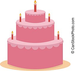 Pink cake, illustration, vector on white background.