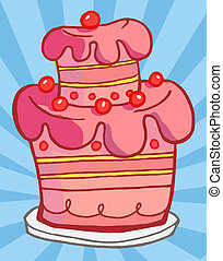 Pink Cake Illustrations