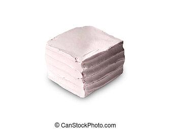 Pink cake isolated on white background