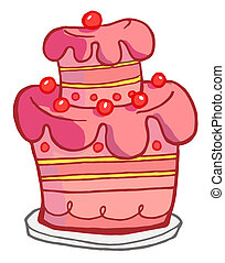 Pink Cake - Pink Birthday Cake With Cherries