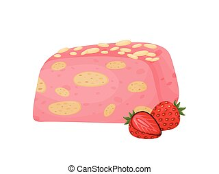 Pink cake with almonds. Vector illustration on white background.