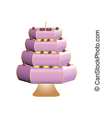 pink cake with decorations