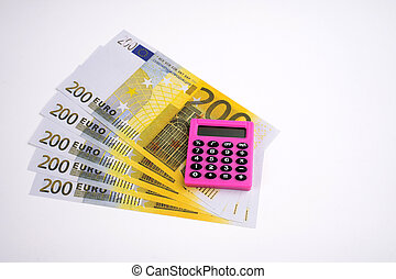 Pink calculator and euro on a white background