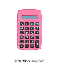 Pink calculator isolated on white