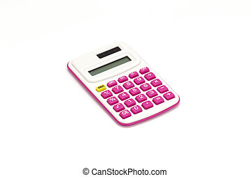 Pink calculator on White Background