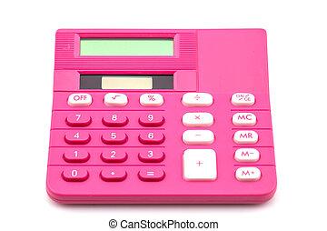 Pink calculator on white
