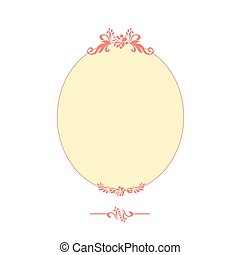 Pink calligraphic design oval frame isolated on the white