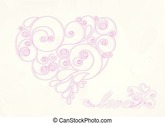 pink calligraphic heart with shadow and love word on the light background horizontal