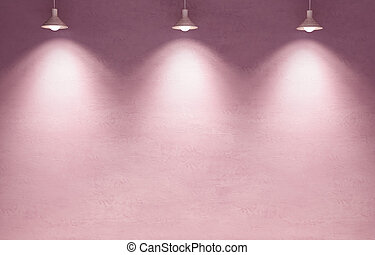Pink candy color plaster wall with lamp