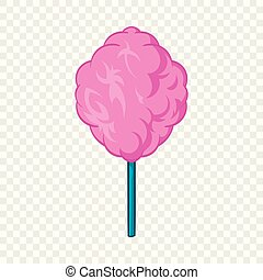 Pink candy floss icon, cartoon style