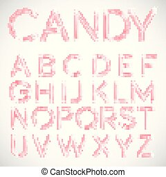 Pink candy font, vector