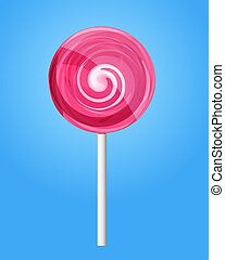 Pink candy lolipop. Vector illustration. - Vector ...