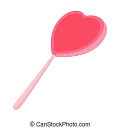 Pink candy on a stick in the form of heart icon
