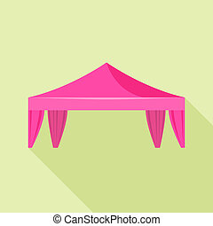 Pink canopy icon, flat style