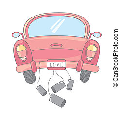 pink car cartoon over white background. vector illustration