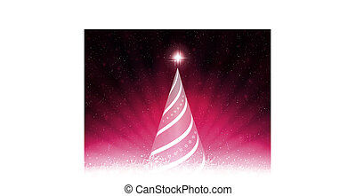 Pink card with abstract tree, rays of light and white snowflakes.