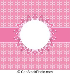 Pink card with Christmas snowflakes