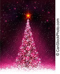 Pink card with shiny Christmas tree and white snowflakes.