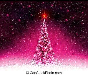 Pink card with shiny Christmas tree, rays of light and Christmas balls.