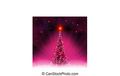 Pink card with shiny Christmas tree, shiny balls and white snowflakes.