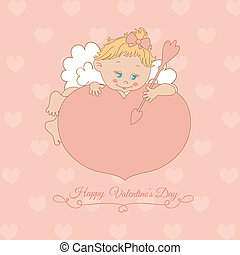 pink card with Valentine's Day with Cupid