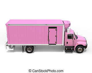 Pink cargo refrigerator truck - top down side view