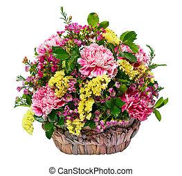 pink carnations in a wicker basket