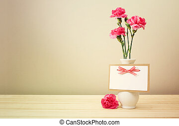 Pink Carnations on White Vase with Blank Greeting Card -...