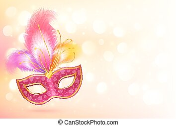 Pink carnival mask with colorful feathers banner background...