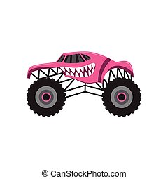 Pink cartoon monster truck with scary animal teeth design