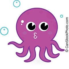 Pink cartoon octopus isolated on white