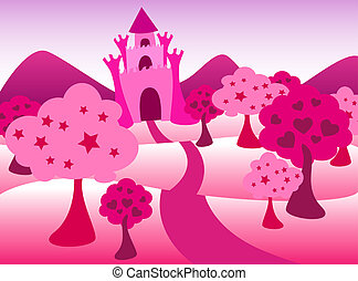 Cute and airy fairy tale castle landscape in pink, with star and heart shape trees, perfect for a little princess.