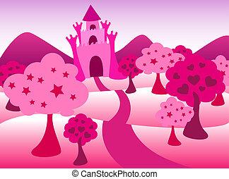Pink castle landscape