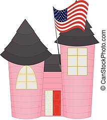 Pink Castle Like House with US Flag