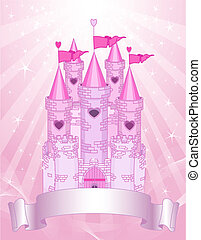 Fairy Tale princess pink castle on radial background with place for your text